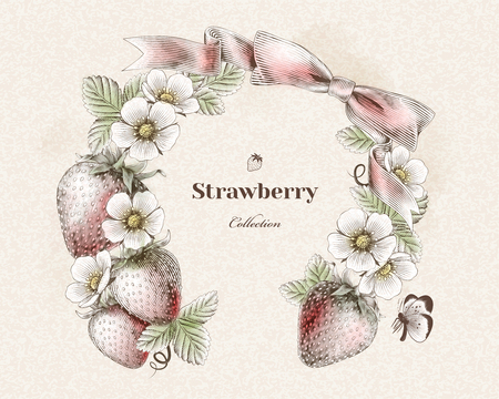 Engraved strawberry and flowers wreath for design use, colorful version  イラスト・ベクター素材