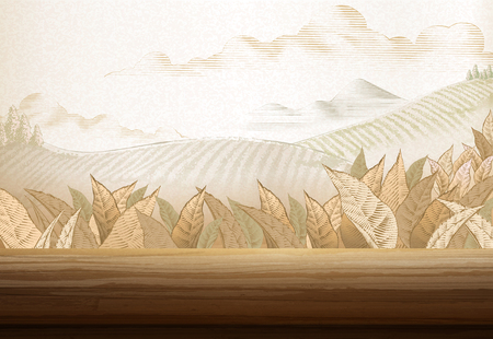 Tea plantation background in engraving style with 3d illustration wooden table