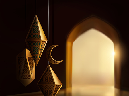Islamic festival design with carved lanterns on bokeh arch interior baround, 3d illustration