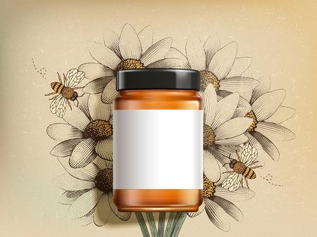 Bovenaanzicht van product met wilde bloemenhoning met blanco label in 3d illustratie op retro gegraveerde wilde bloemenachtergrond Vector Illustratie