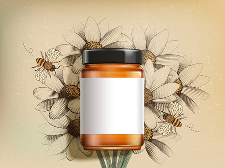 Top view of wildflower honey product with blank label in 3d illustration on retro engraved wildflower background 스톡 콘텐츠 - 112241754