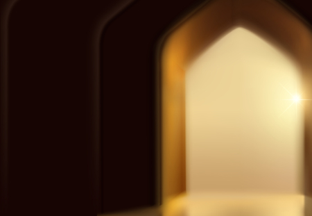 Islamic festival background with arch door in bokeh effect Illustration