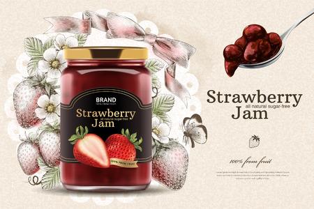 Elegante Erdbeermarmeladenanzeigen mit 3D-Illustrationsglas und ausgebreitetem Löffel auf graviertem fruchtigem Hintergrund