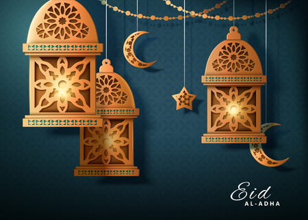 Eid al-adha design with golden decorative lanterns and crescents hanging in the air on dark turquoise background, paper art style