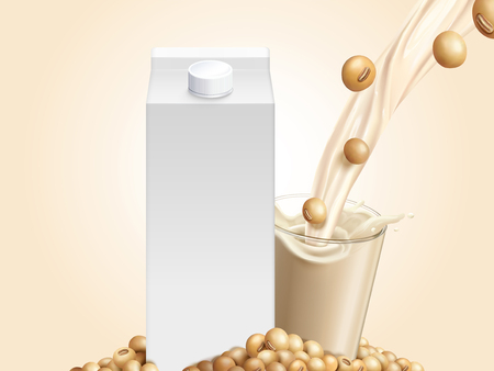 Blank milk carton mockup with soybeans and soymilk pouring into glass cup in 3d illustration Illustration
