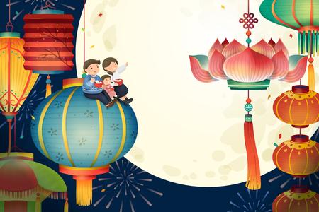 Le festival des lanternes avec des lanternes traditionnelles colorées et des paysages de pleine lune, un joli style dessiné à la main
