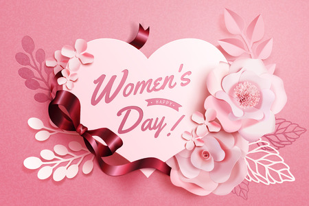 Womens Day floral decorations with heart shape notes in paper art style, 3d illustration greeting card in pink tone Illustration