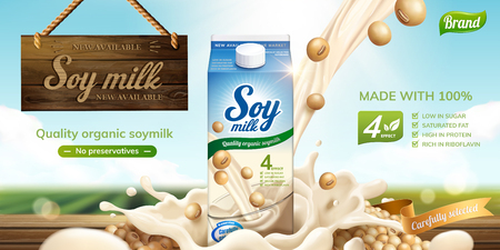 Soy milk ads with splashing liquid and wooden sign hanging in the air on bokeh green field background in 3d illustration