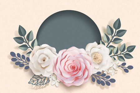 Blank romantic floral paper art frame in 3d illustration Stock Illustratie