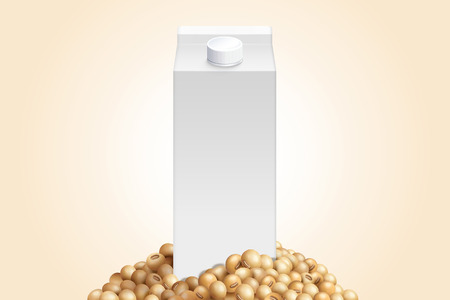 Blank milk carton mockup with soybeans in 3d illustration