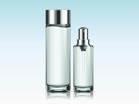 Blank skincare bottles mockup for design uses in 3d illustration  イラスト・ベクター素材