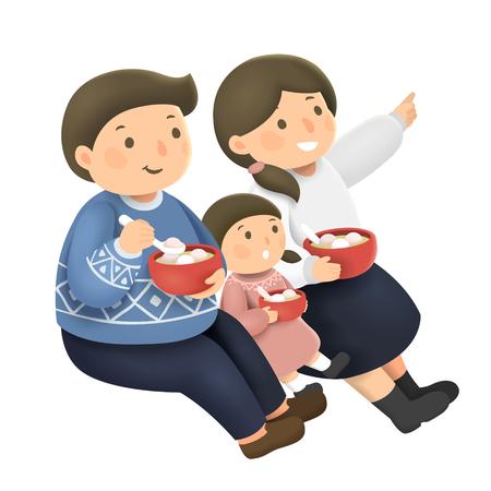 Entzückende Familie, die Yuanxiao im Hand gezeichneten Stil isst