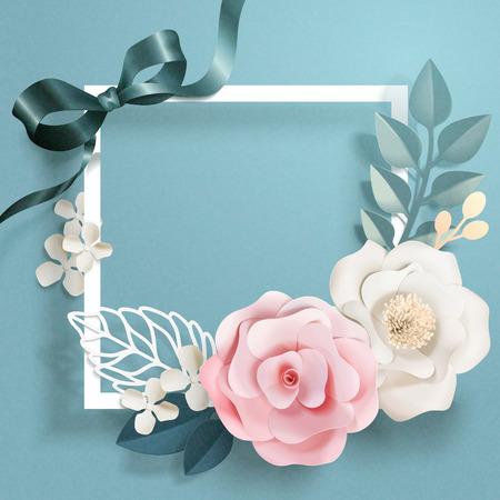 Arte di carta floreale romantica e cornice in tonalità blu, illustrazione 3d Vettoriali