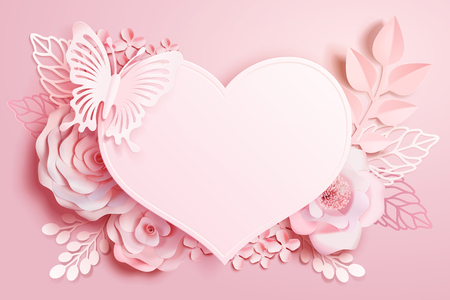 Romantic floral paper art with heart shape and butterfly in pink tone, 3d illustration Illustration