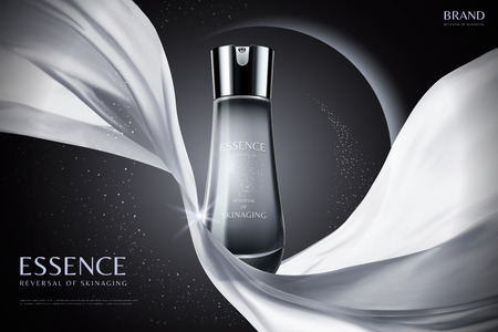 Essence ads with white chiffon element on eclipse background in 3d illustration