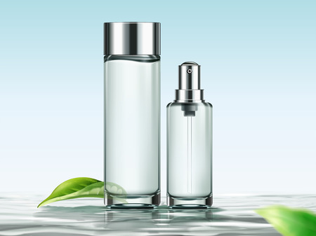 Blank skincare bottles mockup for design uses in 3d illustration, containers upon water surface