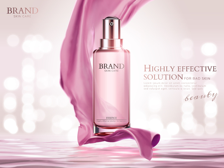 Pink essence spray with satin elements upon water surface and bokeh background in 3d illustration Vectores
