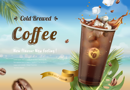 Cold brew coffee ads on summer resort beach in 3d illustration
