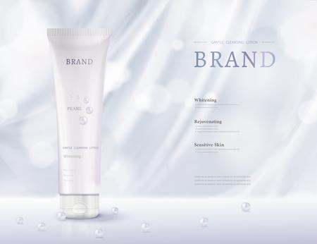 Annonces cosmétiques de tube en plastique avec draperie et perles bleu clair en illustration 3d