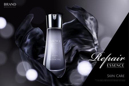 Repair essence with dark black satin element on glittering background in 3d illustration