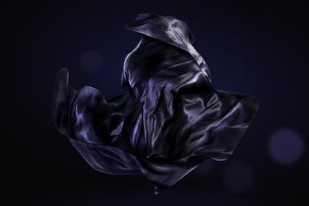 Élément de design en satin violet foncé sur fond de paillettes, illustration 3d Vecteurs