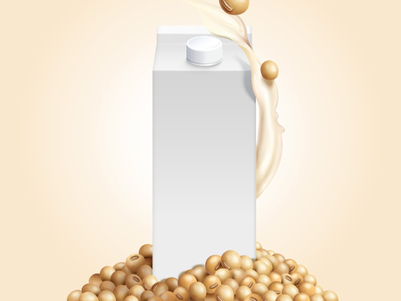 Blank milk carton mockup with soybeans and soymilk in 3d illustration Çizim