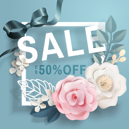 Sale template with paper floral decorations and frames on blue background in 3d illustration