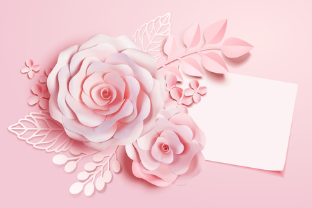 Elegant floral paper art with blank note in pink tone, 3d illustration Stok Fotoğraf - 111585956
