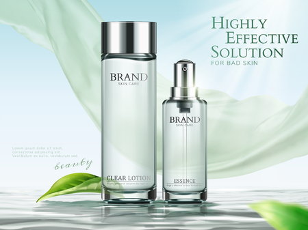 Annunci di lozioni ed essenze in tonalità verde chiaro con chiffon e foglie verdi in illustrazione 3d Vettoriali