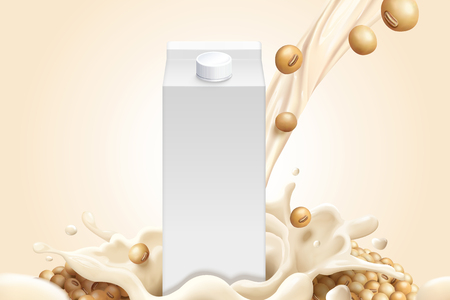 Blank milk carton mockup with soybeans and soymilk in 3d illustration Vettoriali