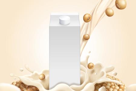 Leeg melkpakmodel met sojabonen en sojamelk in 3d illustratie Vector Illustratie