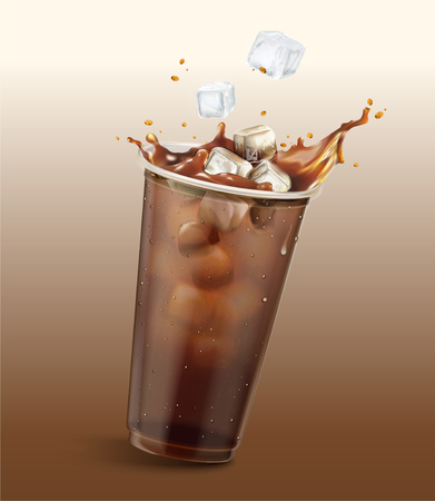 Cold brew coffee in take out cup with ice cubes, 3d illustration