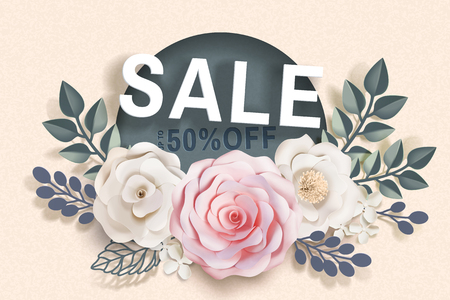 Sale template with paper floral decorations and frames on beige background in 3d illustration