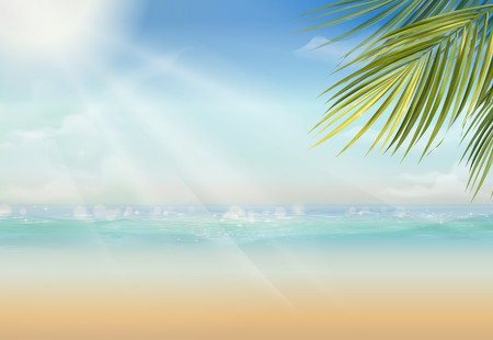 Attractive summer resort with palm leaves and vast ocean in 3d illustration Фото со стока - 111585970