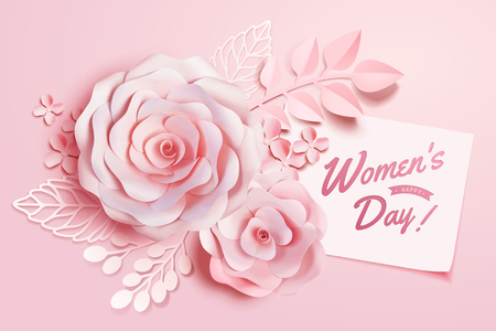 Womens Day floral decorations in paper art style, 3d illustration greeting card in pink tone