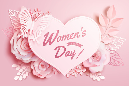 Womens Day floral decorations with buttlefly and heart shape in paper art style, 3d illustration greeting card