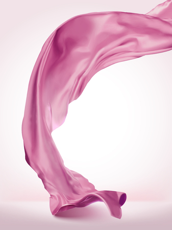 Pink wavy satin on light pink background in 3d illustration