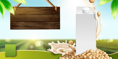 Soy milk template with blank carton box and ingredients on bokeh nature background in 3d illustration