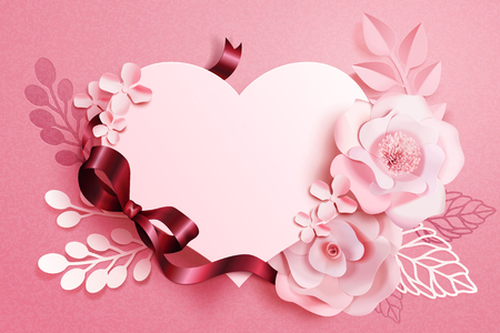 Arte de papel floral romántico con forma de corazón y cintas en tono rosa, ilustración 3d