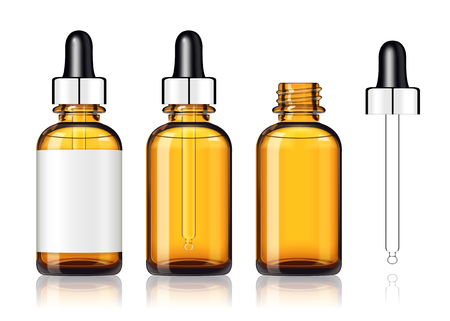 Three blank droplet bottles mockup on white background in 3d illustration Vettoriali