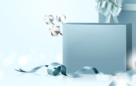 Blank gift boxes set with graceful ribbon and cotton elements on selective focus background, 3d illustration Illustration