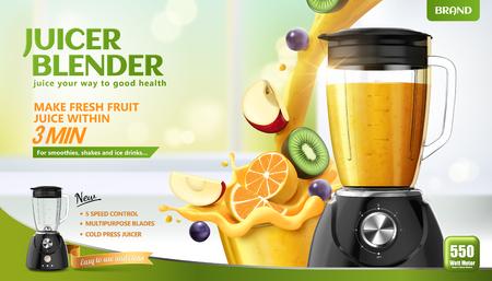 Anuncios de licuadora exprimidor con frutas frescas en rodajas y jugo vertido en un recipiente sobre fondo de cocina bokeh, ilustración 3d