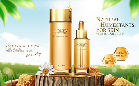 Honey skincare ads on cut tree trunk with honeycomb in 3d illustration, bokeh green field background