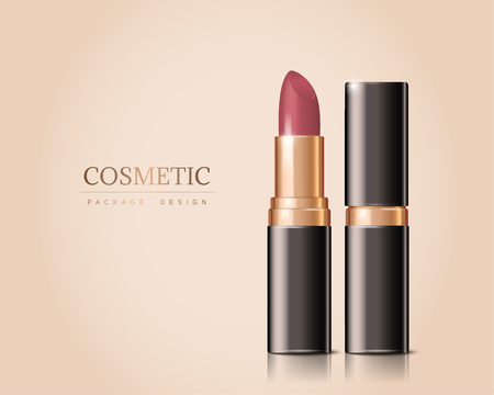 Luxury lipstick isolated on cream color background in 3d illustration Çizim