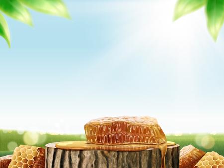 Honingraat en honing op gesneden boomstam in 3d illustratie, bokeh groene veldachtergrond