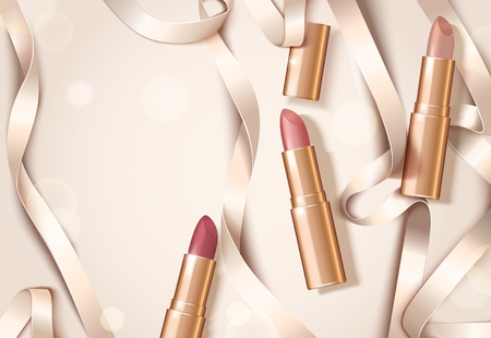 Rose gold package lipsticks with ribbons in flat lay, 3d illustration design with copy space
