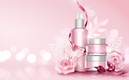 Blank skincare sets with paper art flowers and butterflies elements, copy space light pink 3d illustration Stock Illustratie