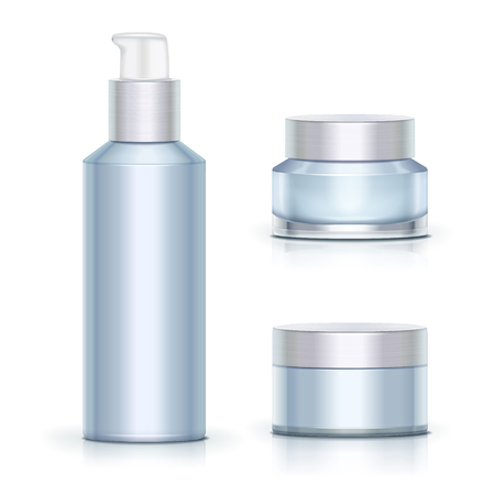 Blank blue skincare containers set on white background in 3d illustration