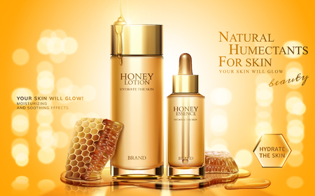 Honey skincare product ads with honeycombs on golden glittering background, 3d illustration
