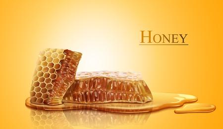 Honingraat en zoete pure honing in 3d illustratie